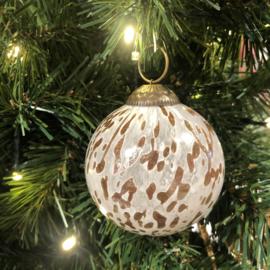 Kerstbal wit/bruin