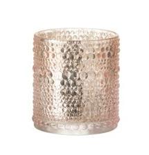 T-Lichthouder Bolletjes Glas roze Small