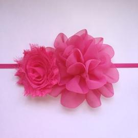 Haarbandje baby/meisje - 2 bloemen (6cm & 10cm)  Fuchsia