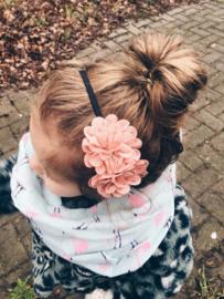 Diadeem meisje met oudroze bloemen