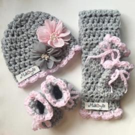 Wintermuts en sjaal baby meisje - grijs met roze