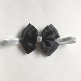 Haarbandje baby en meisje met strik - Zwart en glitter