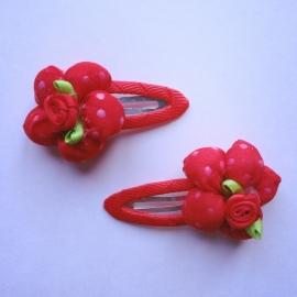 Set van 2 haarspeldjes - Rood met bloem (6cm)