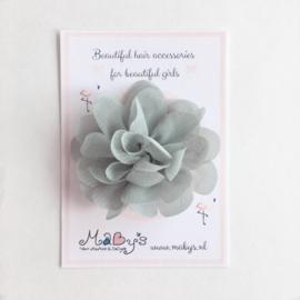 Haarspeldje met chiffon bloemetje - grijs