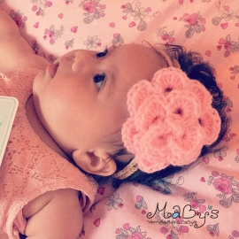Gehaakt baby haarbandje - Bandje bruin met bloem Roze