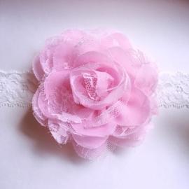 Haarbandje baby meisje - Kant met bloem 10 cm roze