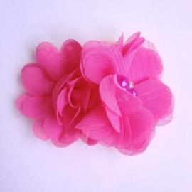 Haarclip - Fuchsia met 2 bloemen