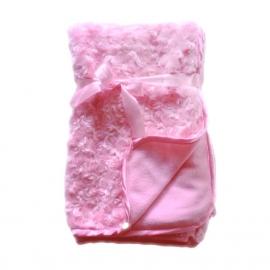 Deken - Roze met roosjes
