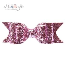Haarspeld met glitter strik - Roze