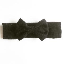 Glitter haarband met strik - zwart