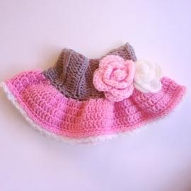 Rokje baby gehaakt - Grijs/roze met bloemen