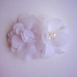 Haarclip - Wit met 2 bloemen