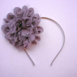 Diadeem met grote bloem antraciet