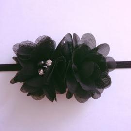Haarbandje baby meisje - 2 bloemetjes zwart