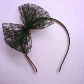 Diadeem met kanten strik - Zwart