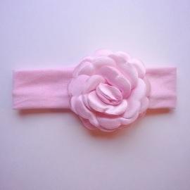 Haarbandje baby meisje stof - Satijnen bloem roze