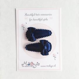 Baby haarspeldjes met satijnen strikje - Navy