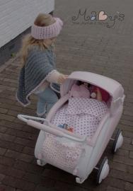 Winterset meisjes Maby's - Poncho en hoofdband met bloemen (roze/grijs)