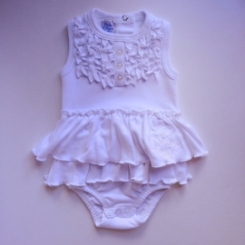 Baby Rompertje/Jurk - Wit met ruffles