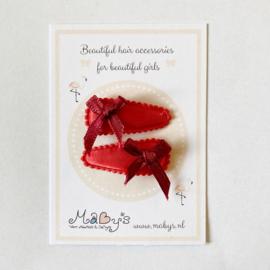Haarspeldjes met strikje - rood