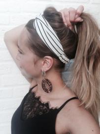 Bandana haarband - wit met zwarte streepjes