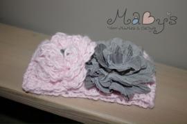 Gehaakt haarbandje Maby's - Roze en antraciet met bloemen