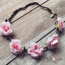 Ibiza haarbandje - bloemetjes 5 cm roze