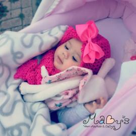 Wintermuts & sjaal baby meisje - Fuchsia met grote strik