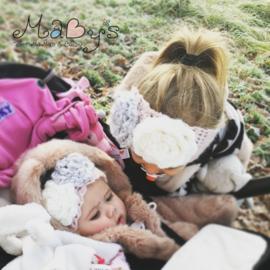 Winterhoofdband en wantjes meisje met bloemen - Oudroze,creme,grijs