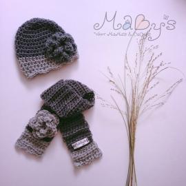 Winterset meisje Maby's - Muts en sjaal met bloem (grijs/antraciet)