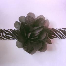 Haarbandje baby meisje - Zebraprint met bloemetje 5 cm zwart