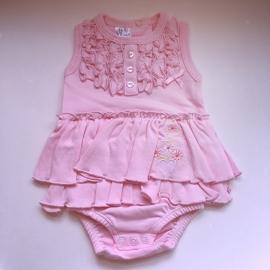 Rompertje/jurk met ruffles roze (LET OP! gekleurd opdrukje ipv effen!)