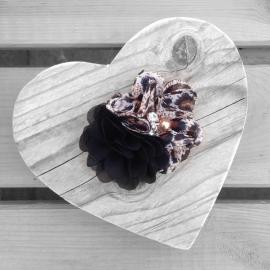 Haarclip - Zwart met parelbloem en panterprint