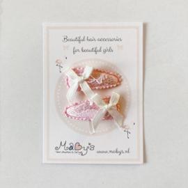 Baby haarspeldjes met kant en strikje - creme/roze