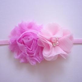 Haarbandje baby meisje - 2 bloemen roze & lichtroze