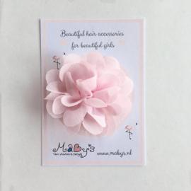 Haarspeldje met chiffon bloemetje - lichtroze