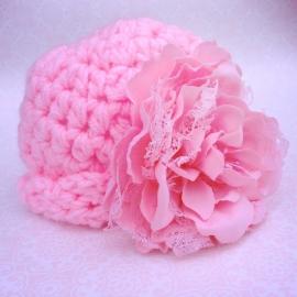Gehaakte muts meisje Maby's - Roze met grote bloem