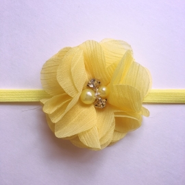 Haarbandje baby meisje - Parelbloemetje (5cm) geel