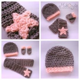 Winterset jongen Maby's - Muts, sjaal en wantenmet ster (antraciet/zalmoranje)