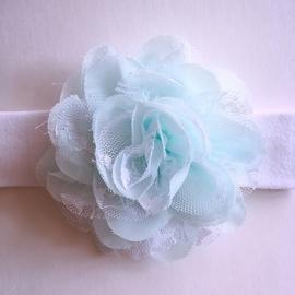 Haarbandje baby meisje stof - Wit met bloem (10 cm) zachtblauw