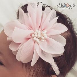 Baby meisjes haarbandje - Bloem 7 cm roze