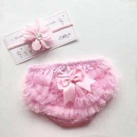 Luierbroekje baby met bijpassende haarband - roze