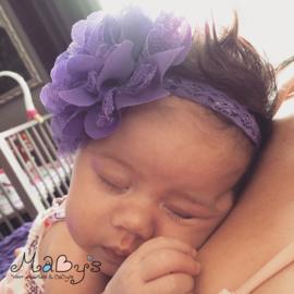 Haarbandje newborn baby - Bloem (10cm) Paars