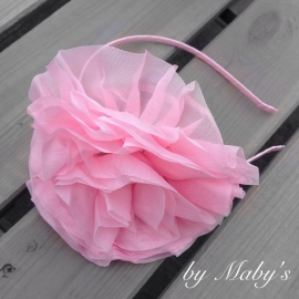 Diadeem met grote chiffonbloem roze