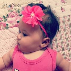Baby haarbandje fuchsia - Bloem 7cm