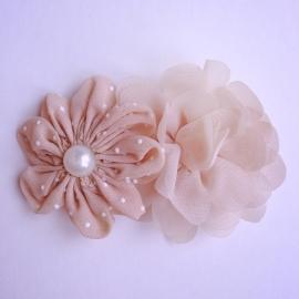 Haarclip - Taupe met 2 bloemen