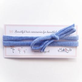 Strik haarbandje baby meisje - Blauw gemeleerd