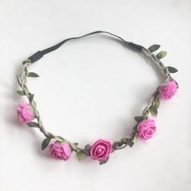Ibiza haarbandje - bloemetjes fuchsia
