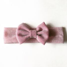 Glitter haarband met strik - roze