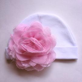 Babymutsje newborn - Wit met bloem roze